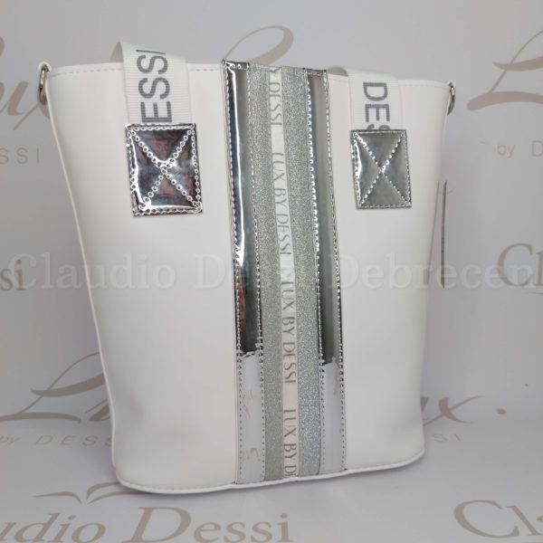 Lux by Dessi 511 fehér-ezüst válltáska