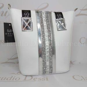Lux by Dessi 511N fehér ezüst válltáska