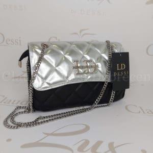 Lux by Dessi 664 ezüst-fekete kistáska